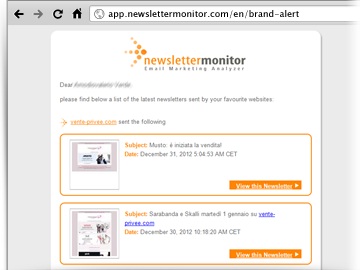 Brand Alert notification NewsletterMonitor