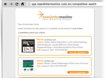 Competitive Watch email NewsletterMonitor